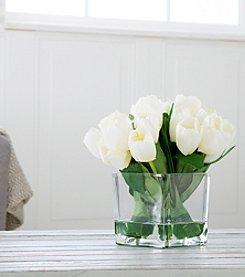 Pure Garden Tulip Floral Arrangement with Glass Vase