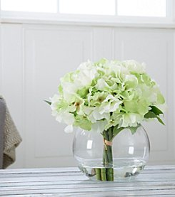 Pure Garden Hydrangea Floral Arrangement with Glass Vase