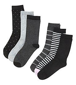 Relativity® 6-Pack Stripes Crew Socks