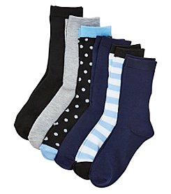 Relativity® 6-Pack Dots And Stripes Crew Socks