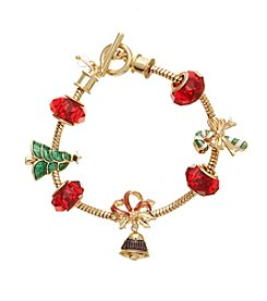 Napier® Goldtone Holiday Charm Bracelet