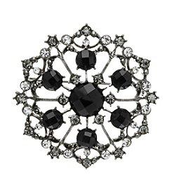 Napier® Boxed Jet Flower Pin