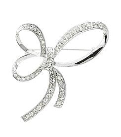 Napier® Boxed Silvertone Crystal Bow Pin