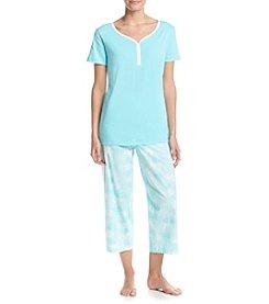 Intimate Essentials® V-Neck Henley And Capri Pajama Set
