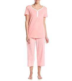 Intimate Essentials® V-Neck Henley And Capri Pajama Set