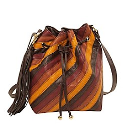 Imoshion Striped Pieced Bucket Bag with Crossbody Strap