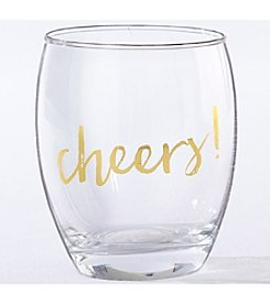 Kate Aspen Set of 4 Gold Cheers 12-oz. Stemless Wine Glass