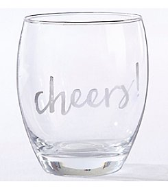 Kate Aspen Set of 4 Silver Cheers 12-oz. Stemless Wine Glass