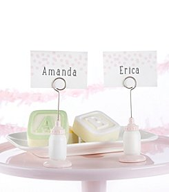 Kate Aspen Set of 12 Classic Pink Baby Bottle Place Card Holders