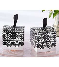 Kate Aspen Set of 24 Black Lace Print Favor Boxes