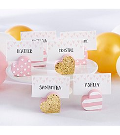 Kate Aspen Set of 12 Pink and Gold Heart Assorted Place Card Holders