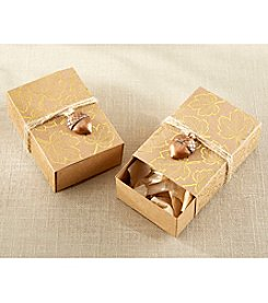 Kate Aspen Set of 24 Gold Foil Leaf Favor Box with Acorn Charm