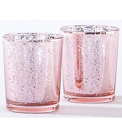 Kate Aspen Set of 12 Light Pink Mercury Glass Tea Light Holders