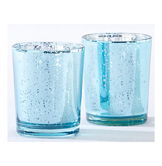 Kate Aspen Set of 12 Light Blue Mercury Glass Tea Light Hold