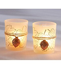 Kate Aspen Set of 12 Leaf Print Tea Light Holders with Copper Acorn Charm