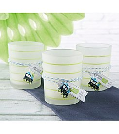 Kate Aspen Set of 12 Precious Cargo Frosted Glass Tea Light Holders with Train Charm