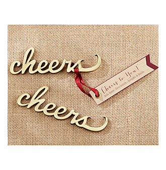 Kate Aspen Set of 12 Cheers Antique Gold Bottle Openers