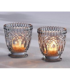 Kate Aspen Set of 12 Smoky Grey Cut Glass Votive Holders