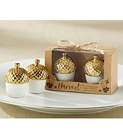 Kate Aspen Set of 12 Gold Dipped Ceramic Acorn Salt & Pepper Shakers