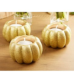 Kate Aspen Set of 12 Gold Glitter Pumpkin Votive Holders
