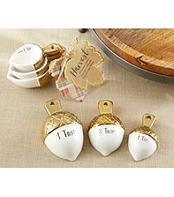 Kate Aspen Set of 12 Gold Dipped Ceramic Acorn Measuring Spoons