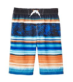 Exertek® Boys' 8-20 Leaf Striped Swim Trunks
