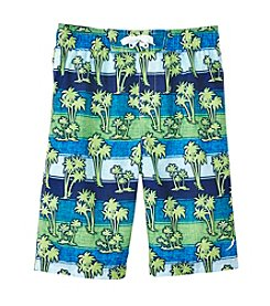 Exertek® Boys' 8-20 Palm Striped Swim Trunks
