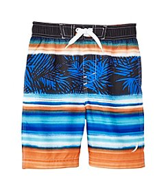 Exertek® Boys' 4-7 Leaf Striped Swim Trunks