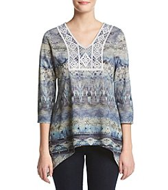 Oneworld® Three Quarter Sleeve V Neck Top