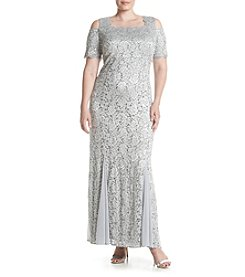 R&M Richards® Plus Size Cold-Shoulder Lace Gown