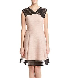 Taylor Dresses Corded Fit And Flare Dress