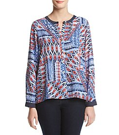 Alfred Dunner® Roll Tab Patchwork Woven Top