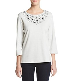 Alfred Dunner® Crescent City Shimmer Beaded Yoke Knit Top