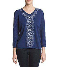 Alfred Dunner® Center Embroidery Sweater