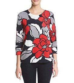 Alfred Dunner® Mesh Floral Print Sweater