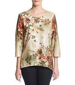 Alfred Dunner® Floral Print Sharkbite Knit Top