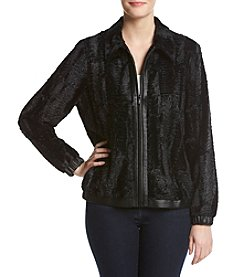 Alfred Dunner® Fur With Leather Trim Jacket