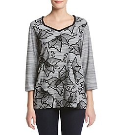 Alfred Dunner® Asymetrical Hem Flocked Floral Knit Top