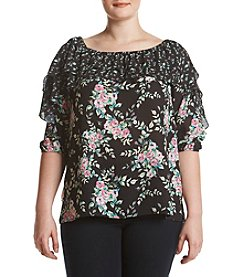 Relativity® Plus Size Floral Ruffle Top