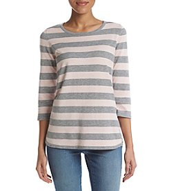 Studio Works® 3/4 Sleeve Stripe Sweater