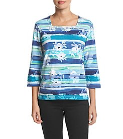 Alfred Dunner® Petites' Watercolor Biadere Tee