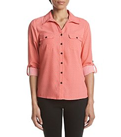 Notations® Petites' Dot Print Button Up Shirt