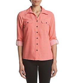 Notations® Petites' Dot Print Button Up Shirt