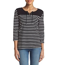 Studio Works® Striped Lace Up Top