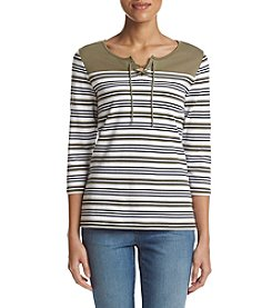 Studio Works® Auto Striped Lace Up Top