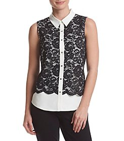 Calvin Klein Collared Lace Blouse