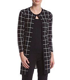 Kasper® Windowpane Open Front Cardigan