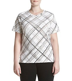Studio Works&Reg; Plus Size Plaid Crew Neck Top