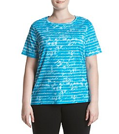 Studio Works® Plus Size Striped Crew Neck Tee