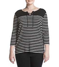 Studio Works® Plus Size Striped Lace Up Top